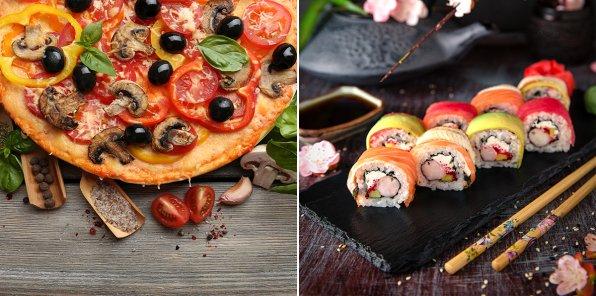 Скидка 50% на пиццу, роллы, суши и напитки от TaxoLunch