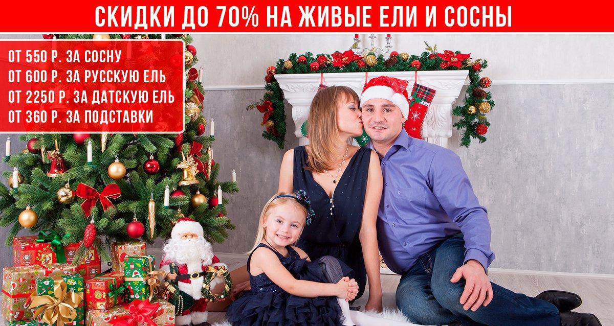 Скидки до 70% на живые елки от магазина ruelki.ru