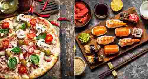 Скидка 40% на доставку пиццы и роллов