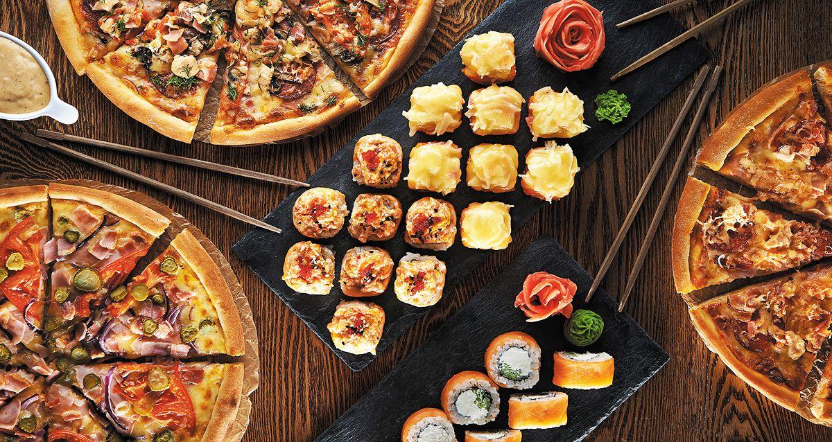 Скидка 50% на доставку роллов и пиццы