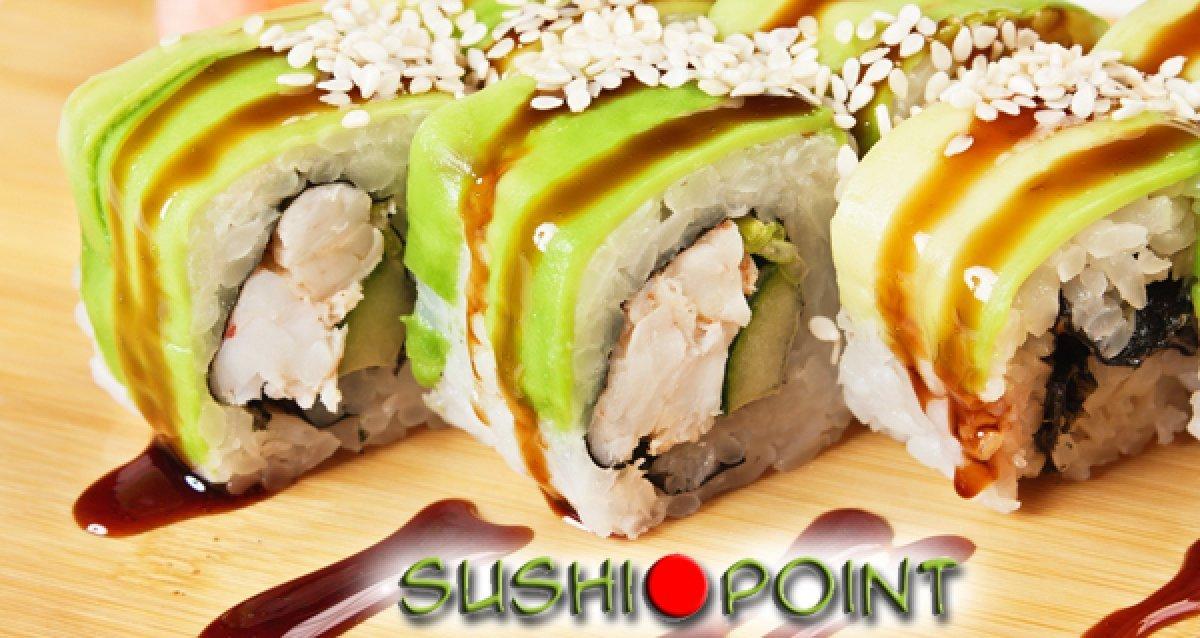 Скидка 50% на все меню и напитки от службы доставки Sushi Point + подарки!