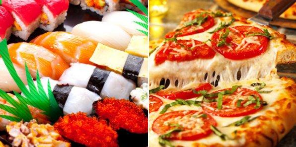 Вкусно поесть? Нет проблем! Самая вкусная пицца и свежие суши с доставкой на дом! За полцены! От 700 рублей за заказ!